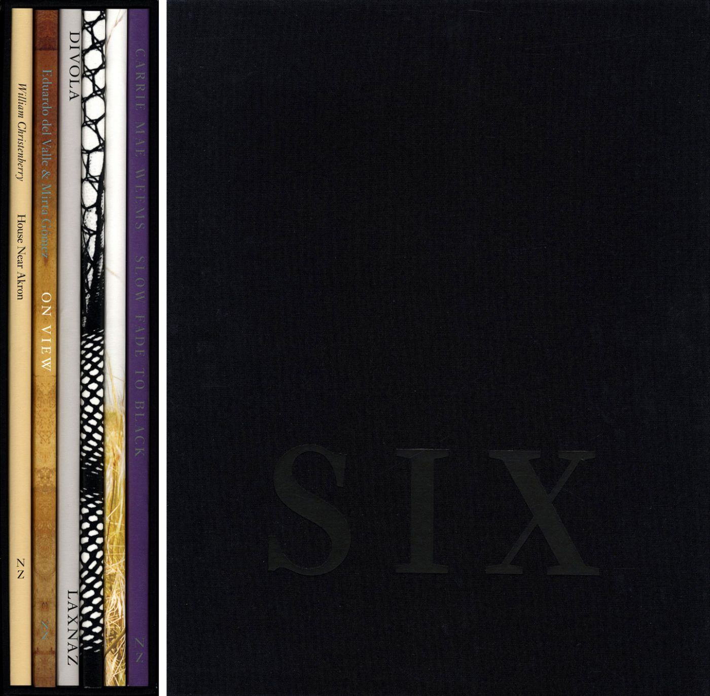 Nazraeli Press Six by Six (6 x 6) Subscription Series: Set 3 (of 6), Limited Edition (with 6 Prints): William Christenberry: House Near Akron; Eduardo del Valle & Mirta Gómez: On View; John Divola: LAX NAZ: Los Angeles International Airport Noise Abatement Zone (Exterior Views), 1975; Daido Moriyama: Fishnet; Karin Apollonia Müller: Timber Cove; Carrie Mae Weems: Slow Fade to Black