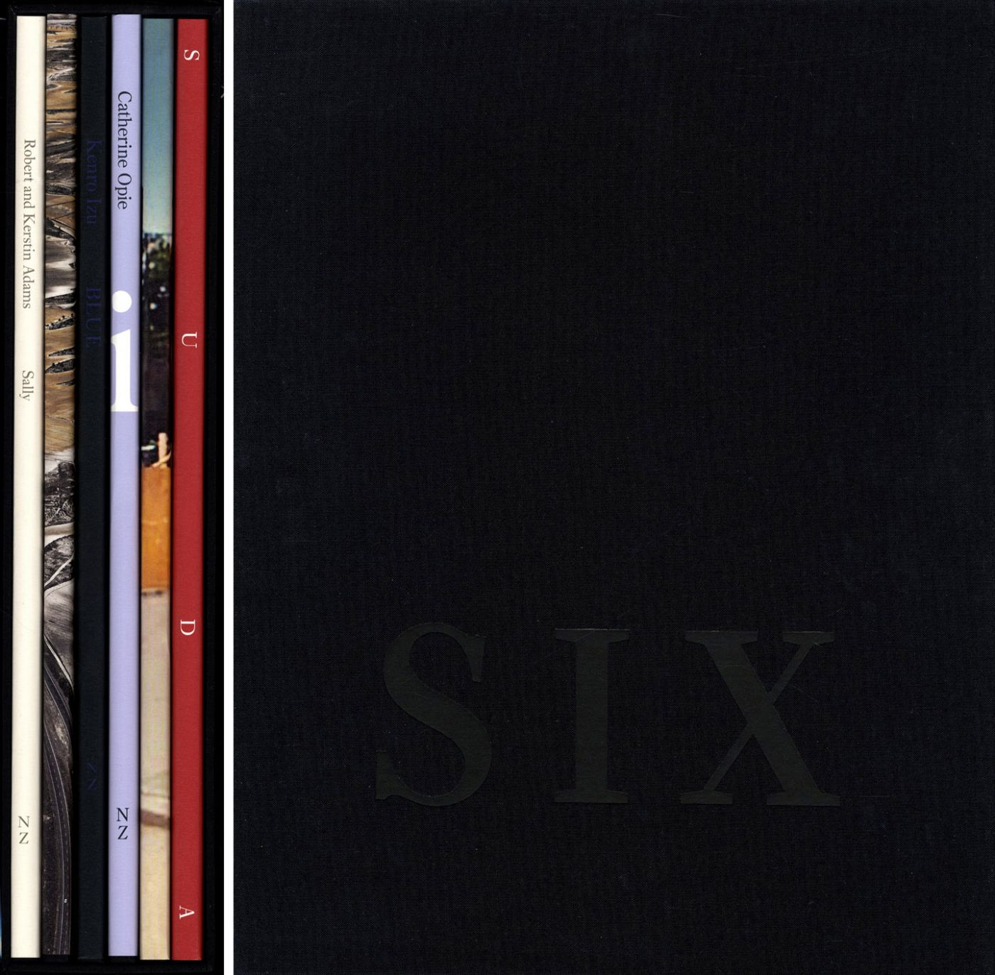 Nazraeli Press Six by Six (6 x 6) Subscription Series: Set 4 (of 6), Limited Edition (with 6 Prints): Robert Adams: Sally; Edward Burtynsky: Monegros (Dryland Farming); Kenro Izu: Blue; Catherine Opie: The Middle of Somewhere; Doug Rickard: A New American Picture; Issei Suda: Sparrow Island