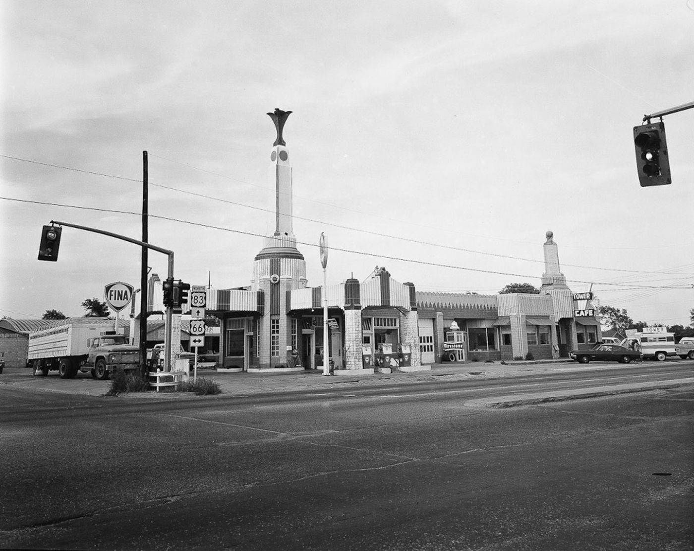 "NZ Library #1: John Schott: Route 66, Special Limited Edition (with Gelatin Silver Contact Print ""Untitled"" from the Series ""Route 66 Motels,"" Intersection and a Fina Service Station) (NZ Library - Set One, Volume Six)"