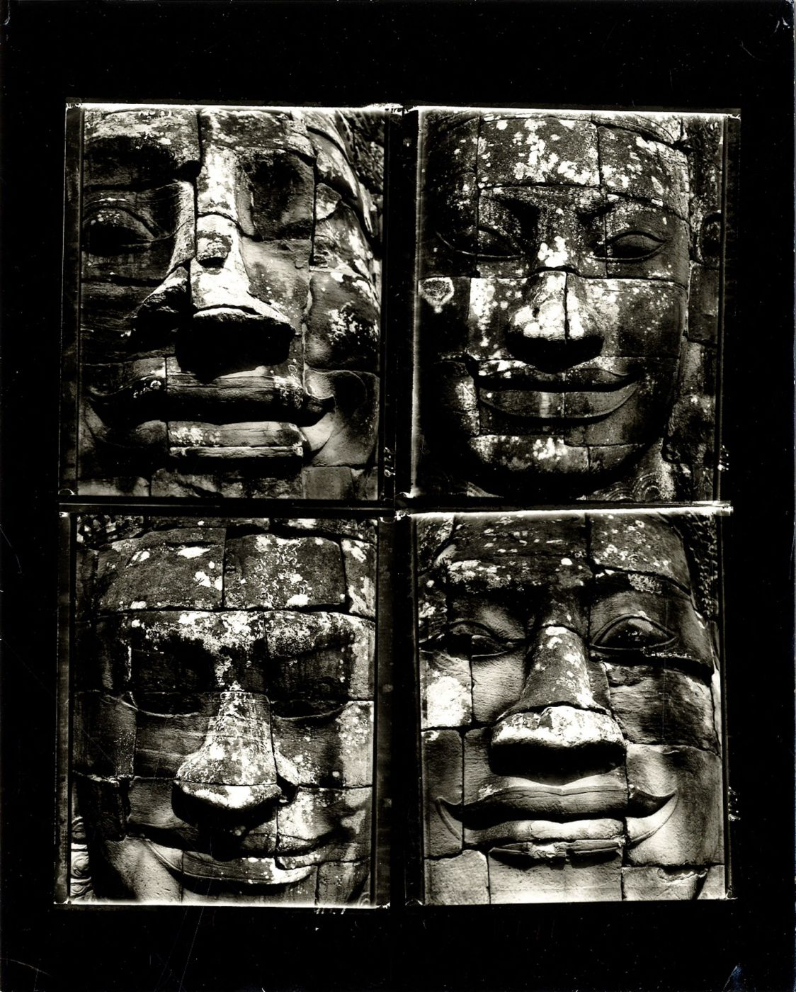 "Bill Burke: ""Four Faces at the Bayon, 1991"" Vintage Toned Gelatin Silver Contact Print of Four Polaroid Negatives (10x8"" Printed on AZO Paper)"