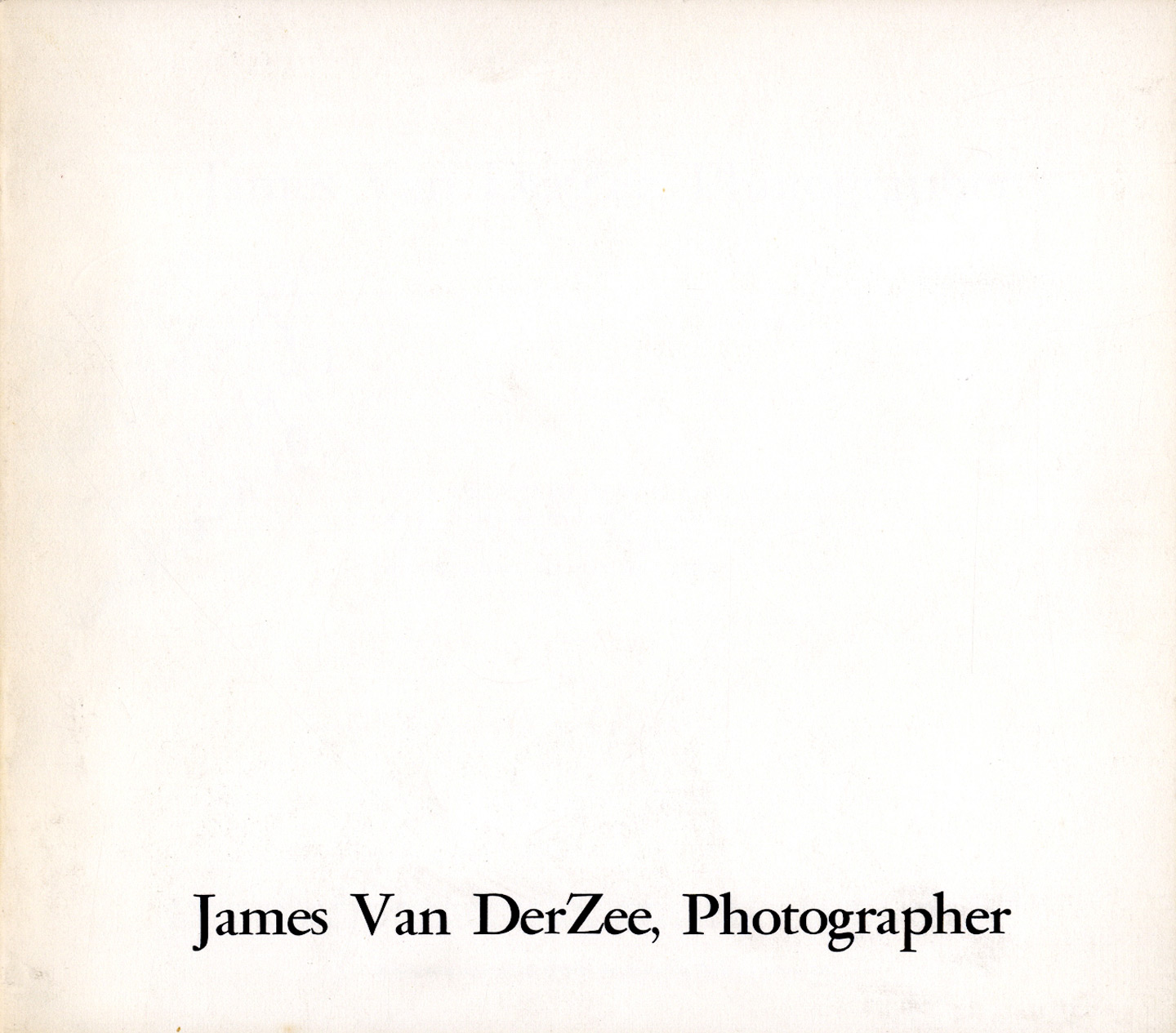 James Van DerZee, Photographer [SIGNED]