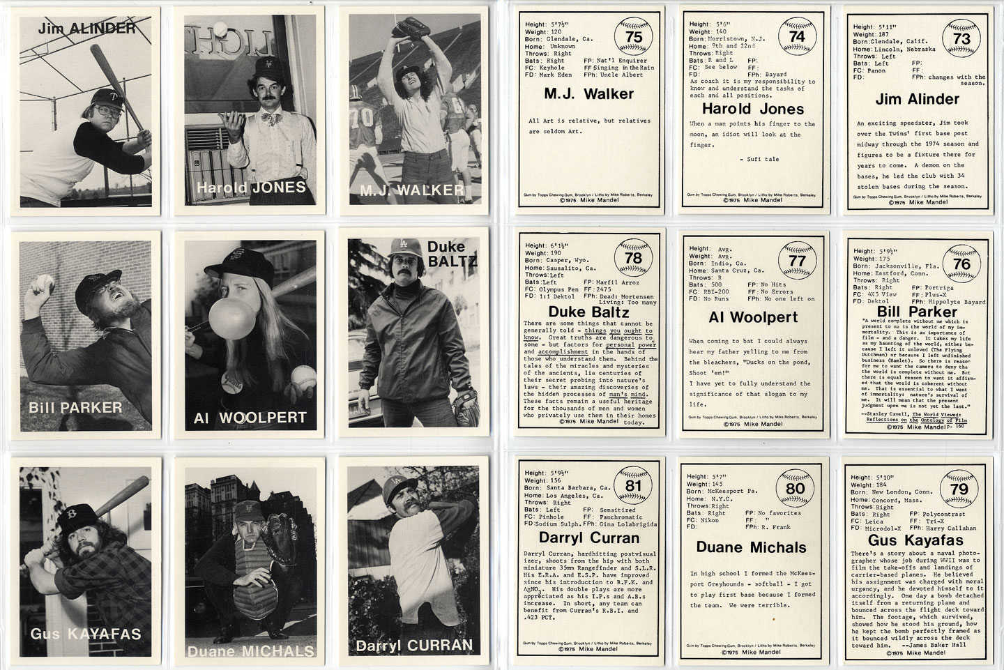 Mike Mandel: Untitled (Baseball-Photographer Trading Cards), Complete Set of 135 Cards [SIGNED by Mandel]