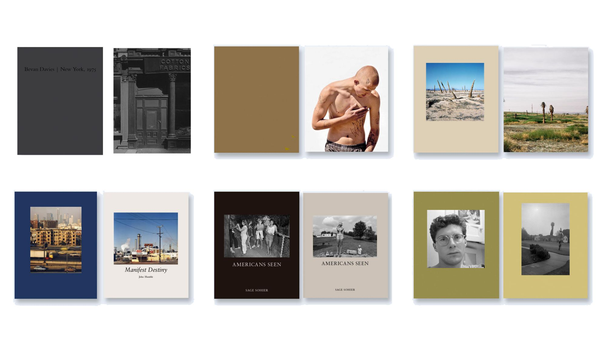 NZ Library: Set #3 (Six Volumes), Limited Edition [SIGNED]. Bevan Davies: New York, 1975, Katy Grannan: Hundreds of Sparrows: Volume 1, Anthony Hernandez: Discarded, John Humble: Manifest Destiny, Sage Sohier: Americans Seen, Mark Steinmetz: Angel City West: Volume 2