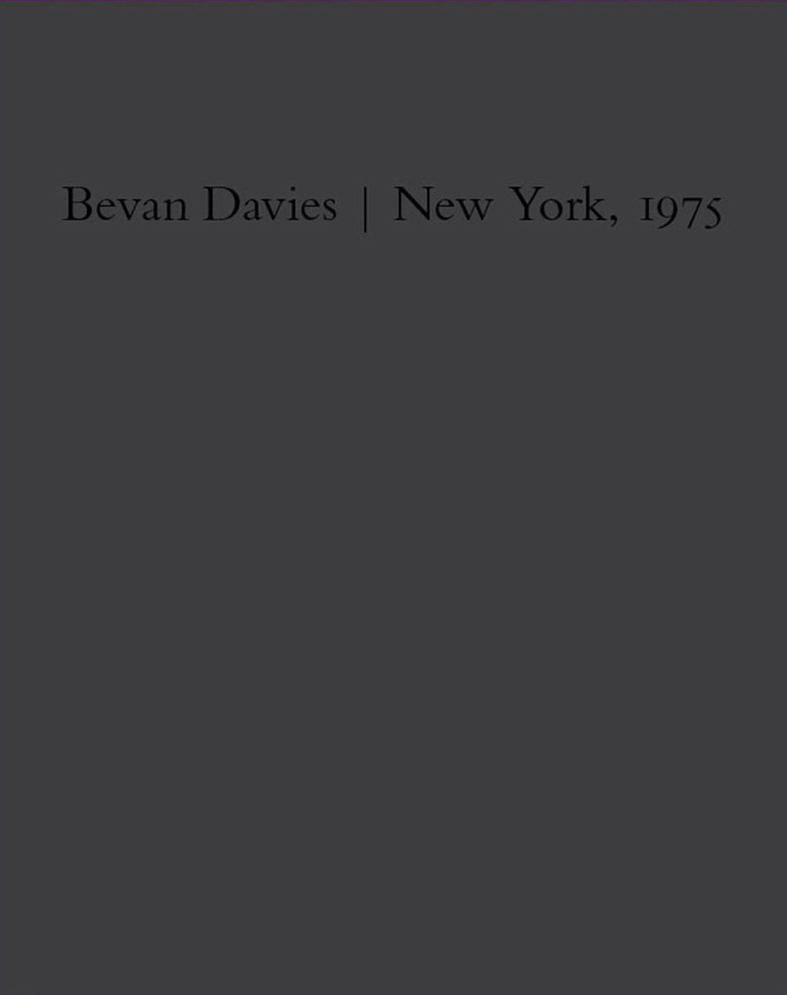 NZ Library #3: Bevan Davies: New York, 1975, Limited Edition (NZ Library - Set Three) [SIGNED]