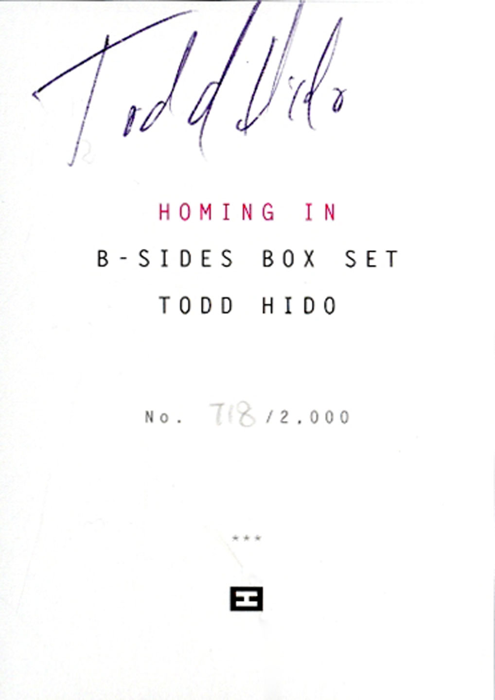 Todd Hido: Homing In -- B-Sides Box Set, Limited Edition [SIGNED]