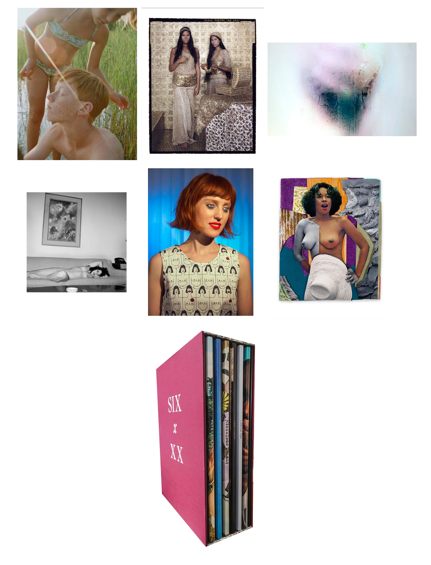 "Nazraeli Press Six x XX (6 by XX), Limited Edition(s) (with 6 Prints): Petra Collins: Kamasz Nyar; Lalla Essaydi: Lalla Essaydi; Marilyn Minter: Cunt; Catherine Opie: Girlfriends; Laurie Simmons: How We See (""Doll Girls""); Mickalene Thomas: Black is Beautiful"