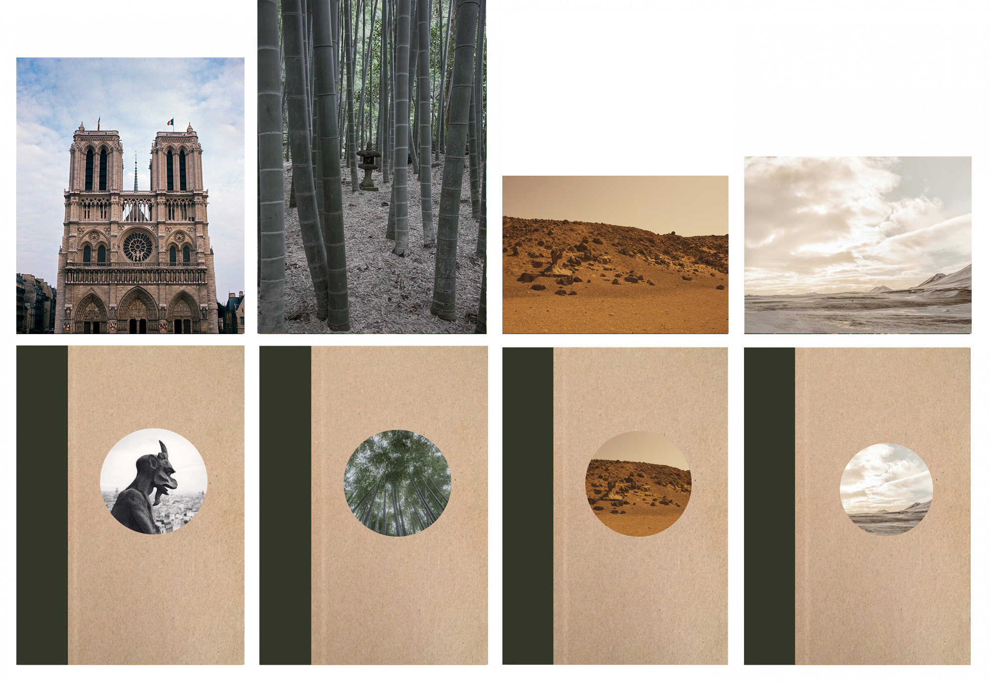 Nazraeli Press One Picture Book Two Series, Set 5: #17-20, Limited Edition(s) (with 4 Prints): Michael Kenna: Notre-Dame de Paris; David Gibson: Bamboo Grove; Alia Malley: Captains of the Dead Sea; Todd Hido: Untitled #11856-0820