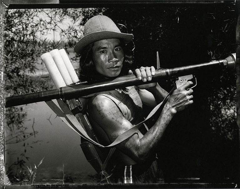 "Bill Burke: ""KPNLF Fighter with Lake Ampil RPG, Thai Cambodia Border, 1984,"" Limited Edition Gelatin Silver Print (Open Edition; Print Size 20x24"")"