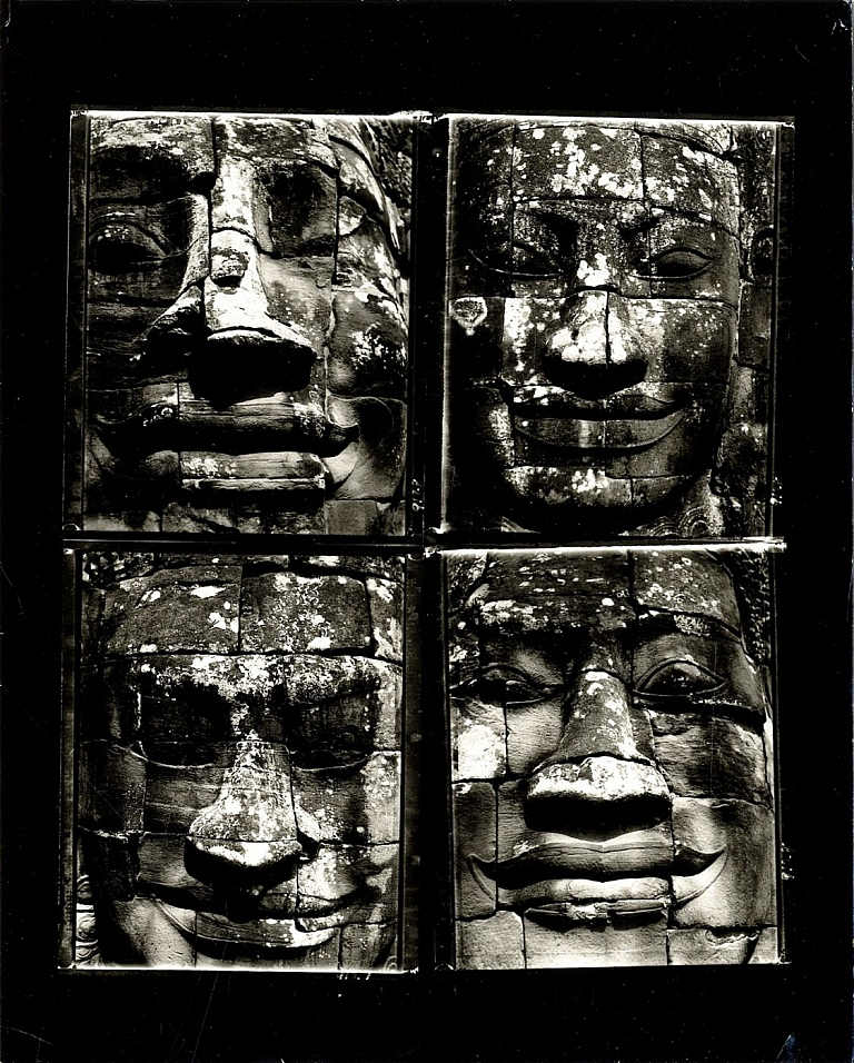 "Bill Burke: ""Four Faces at the Bayon, 1991"" Vintage Toned Gelatin Silver Contact Print of Four..."