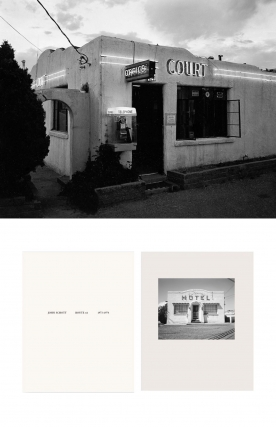 "NZ Library #1: John Schott: Route 66, Special Limited Edition (with Gelatin Silver Contact Print ""Untitled"" from the Series ""Route 66 Motels,"" El Pueblo Court Motel Office with Pay Telephone) (NZ Library - Set One, Volume Six). John SCHOTT."